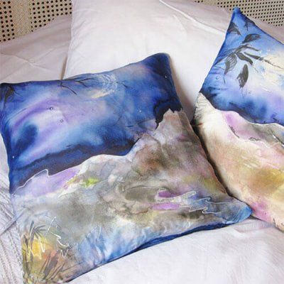 hand painted silk cushion covers