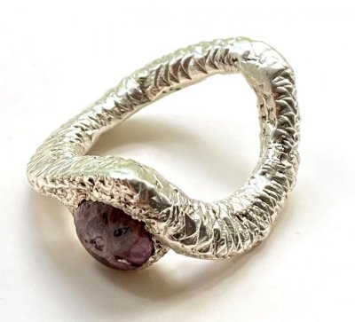 Silver Wishbone Ring with ruby