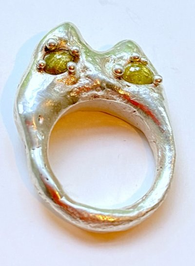 Silver and Diamond Screaming Cat Ring