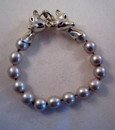 Silver and Pearl fox head bracelet