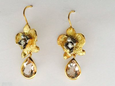 Orchid Earrings, 9ct Gold, diamonds and morganites