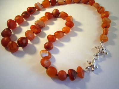Silver Carnelian and Quartz Necklace